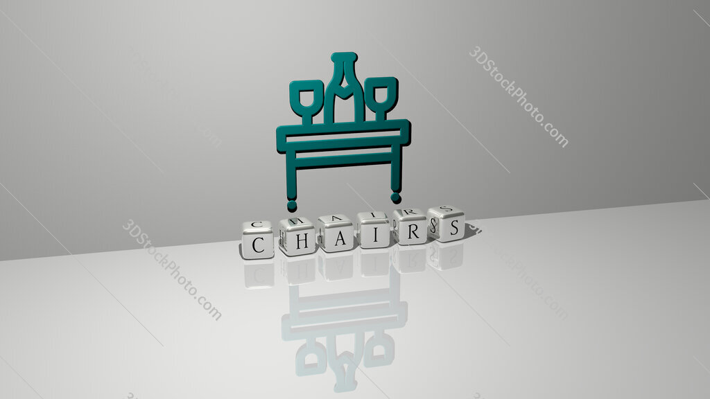 chairs text of cubic dice letters on the floor and 3D icon on the wall
