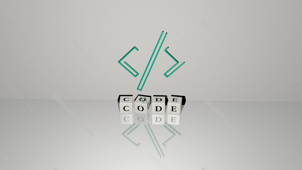 code text of cubic dice letters on the floor and 3D icon on the wall