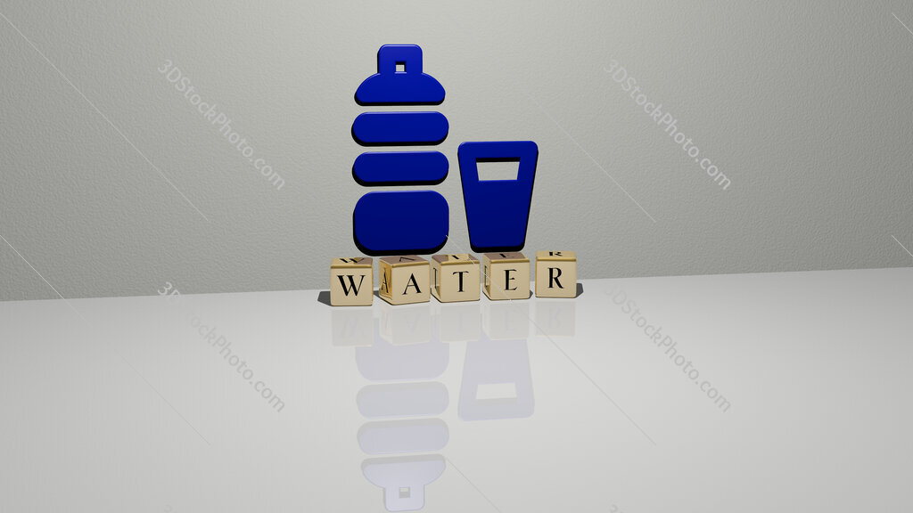 water text of cubic dice letters on the floor and 3D icon on the wall