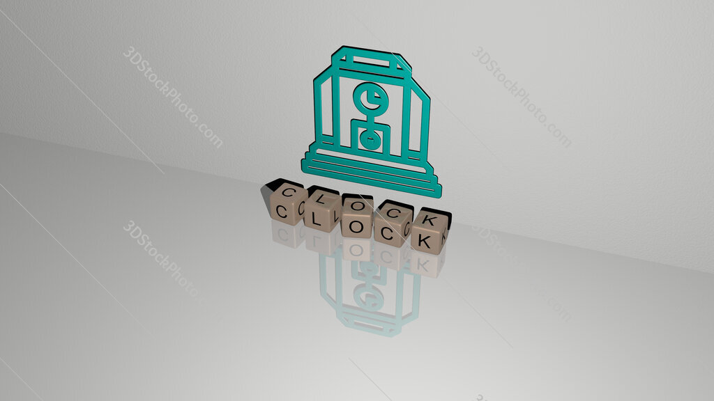 clock text of cubic dice letters on the floor and 3D icon on the wall