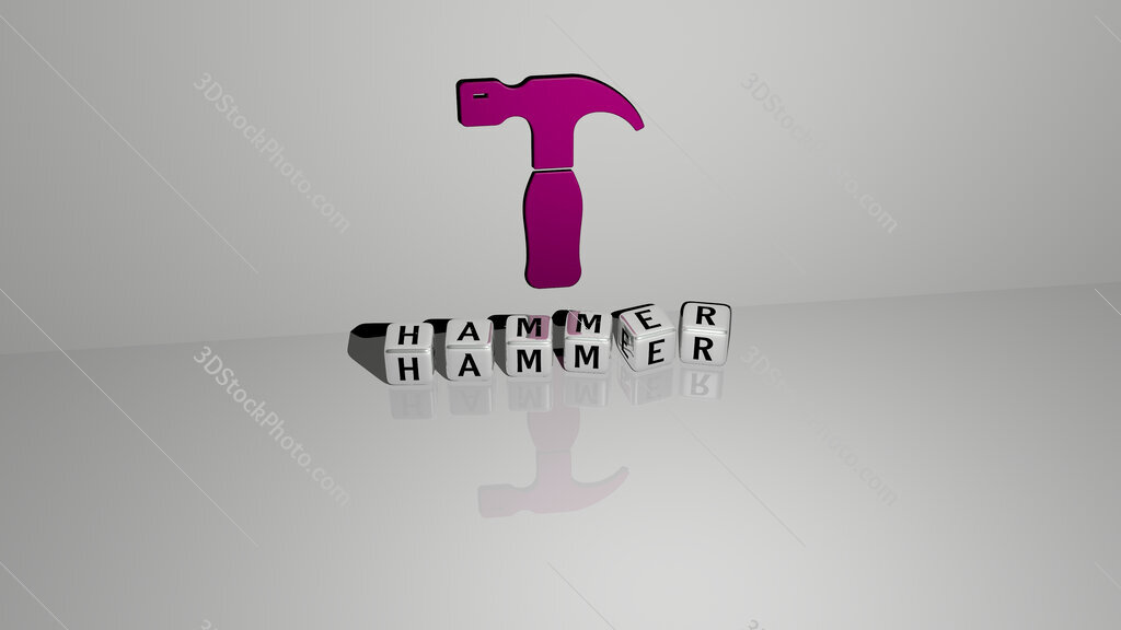 hammer text of cubic dice letters on the floor and 3D icon on the wall