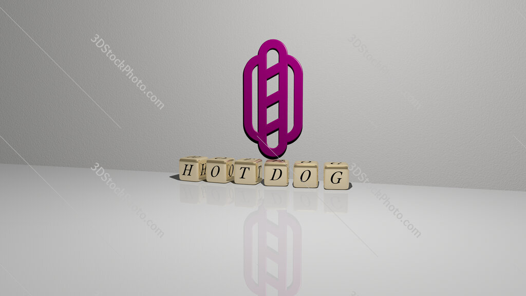 hotdog text of cubic dice letters on the floor and 3D icon on the wall