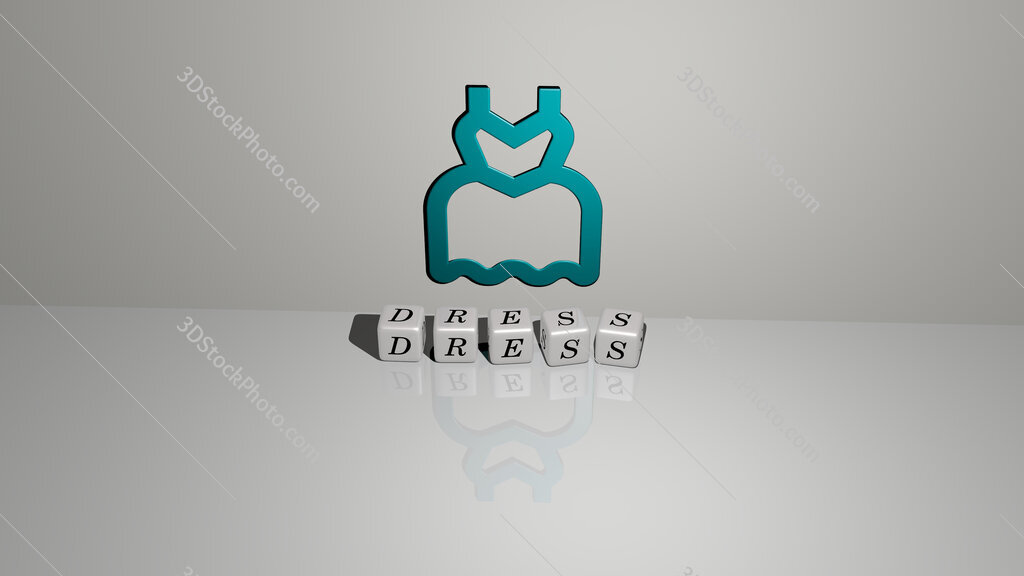 dress text of cubic dice letters on the floor and 3D icon on the wall