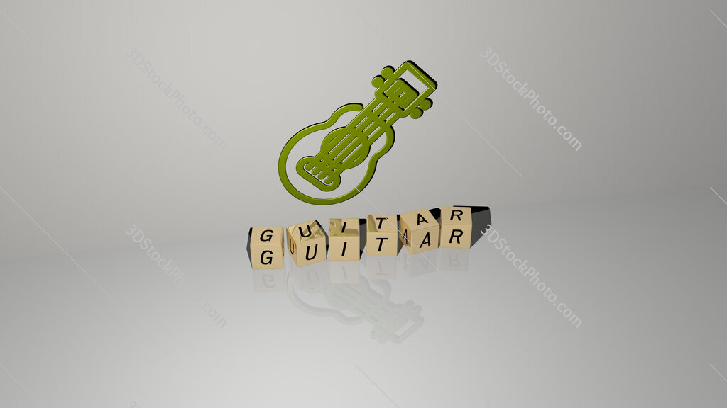 guitar text of cubic dice letters on the floor and 3D icon on the wall