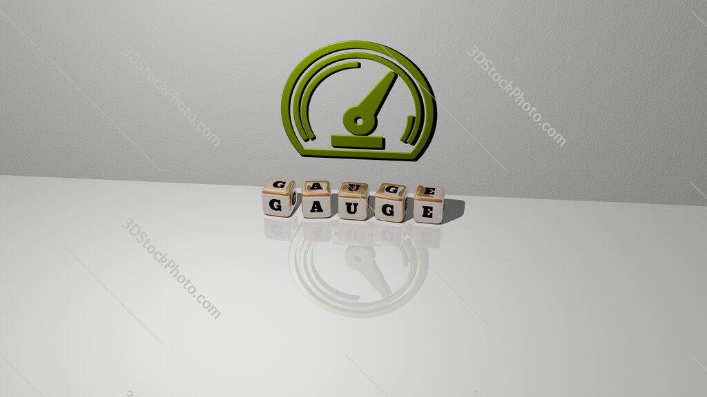gauge text of cubic dice letters on the floor and 3D icon on the wall