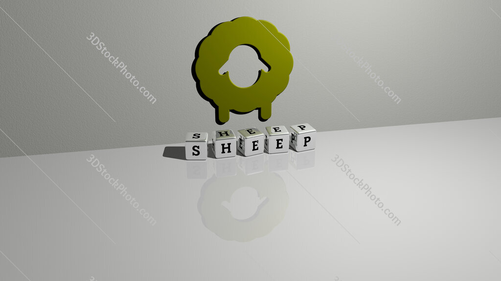 sheep text of cubic dice letters on the floor and 3D icon on the wall
