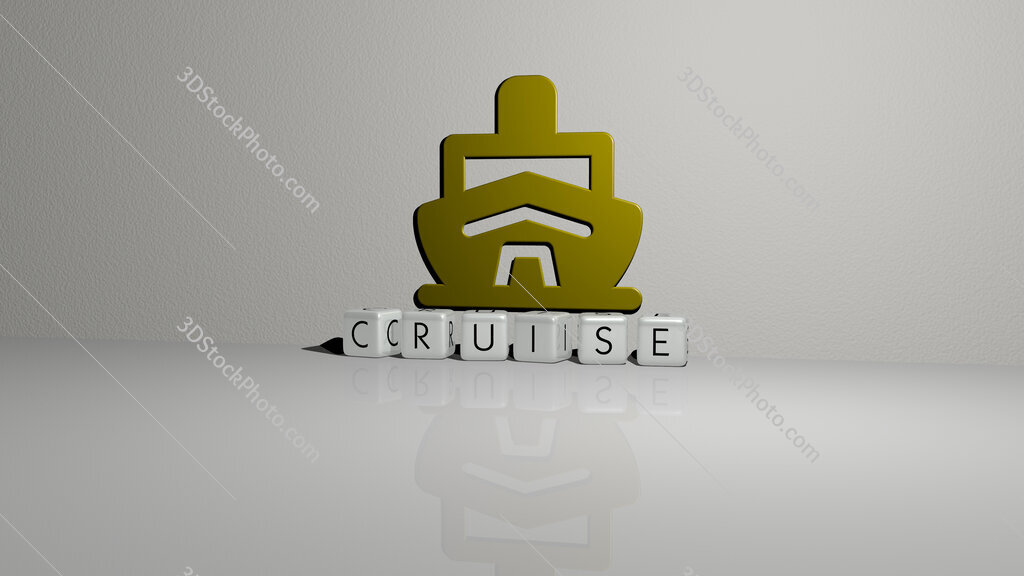 cruise text of cubic dice letters on the floor and 3D icon on the wall