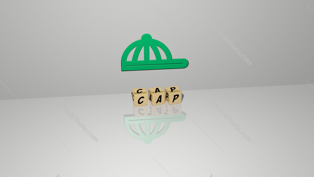 cap text of cubic dice letters on the floor and 3D icon on the wall