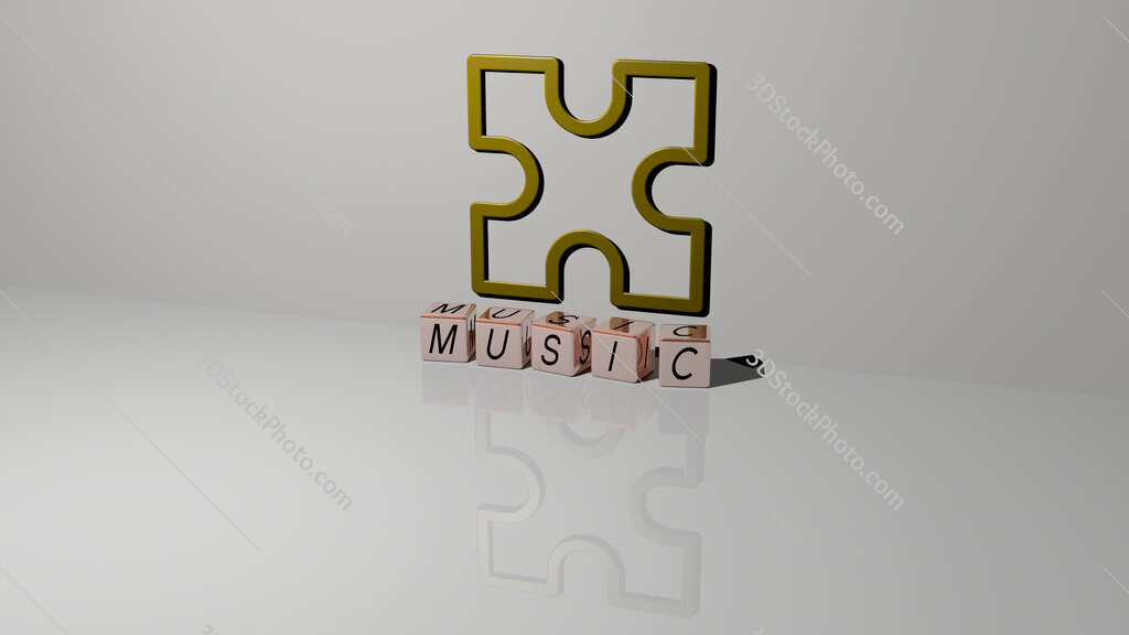 music text of cubic dice letters on the floor and 3D icon on the wall