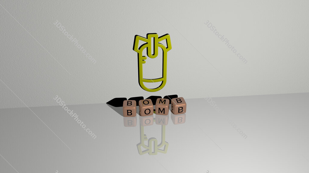 bomb text of cubic dice letters on the floor and 3D icon on the wall