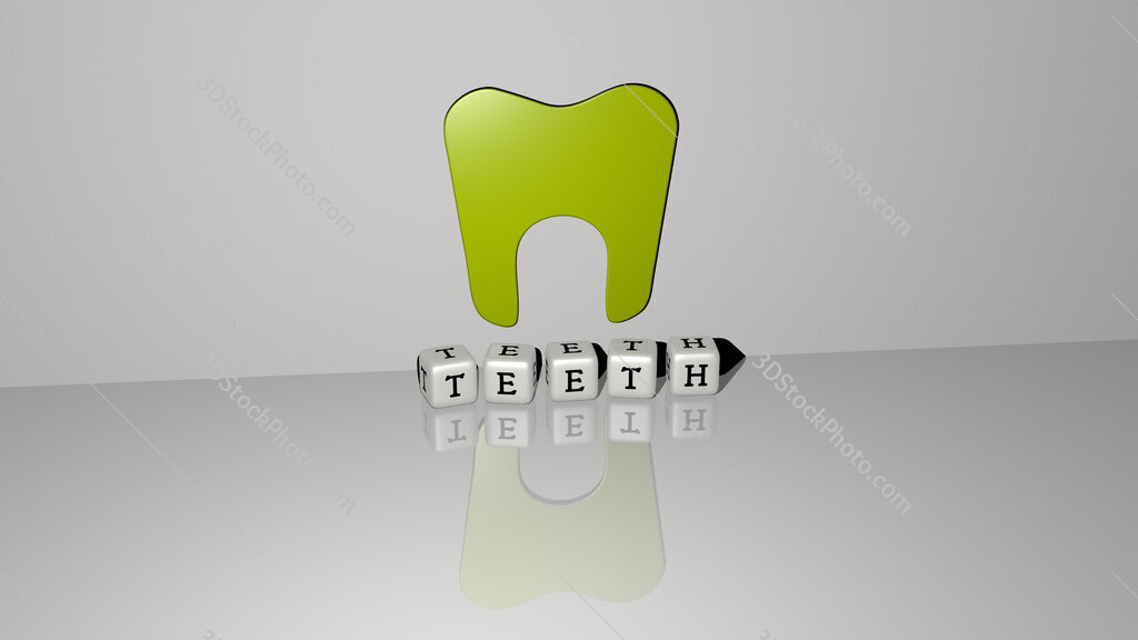 Teeth text of cubic dice letters on the floor and 3D icon on the wall