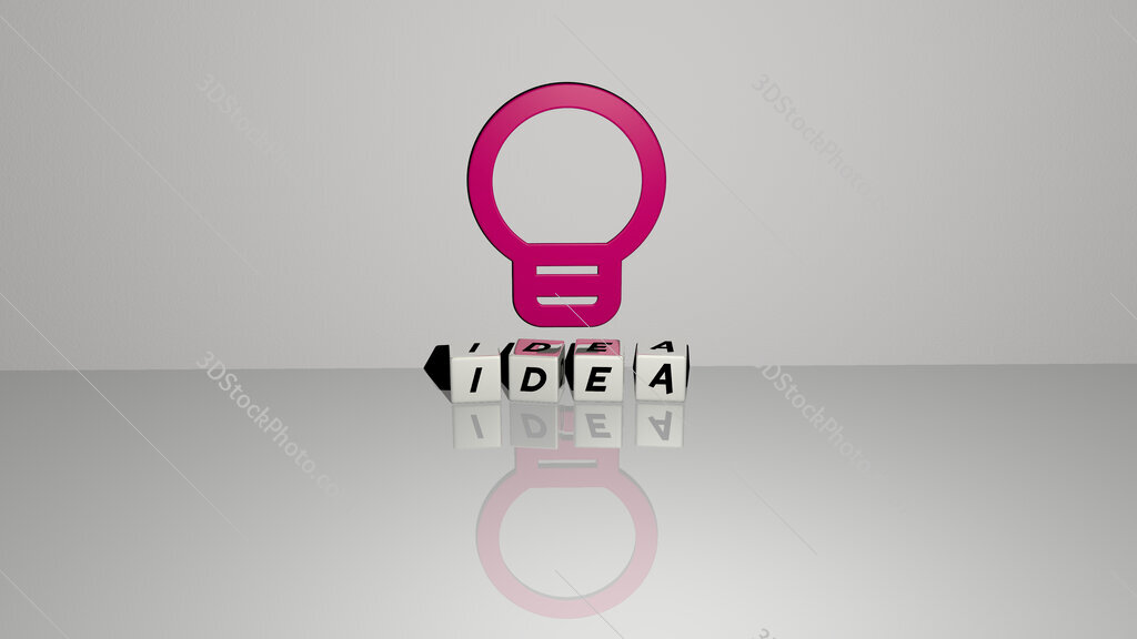 idea text of cubic dice letters on the floor and 3D icon on the wall
