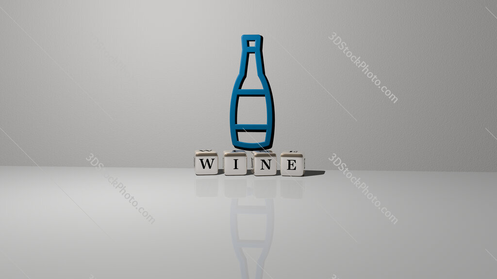 Wine text of cubic dice letters on the floor and 3D icon on the wall