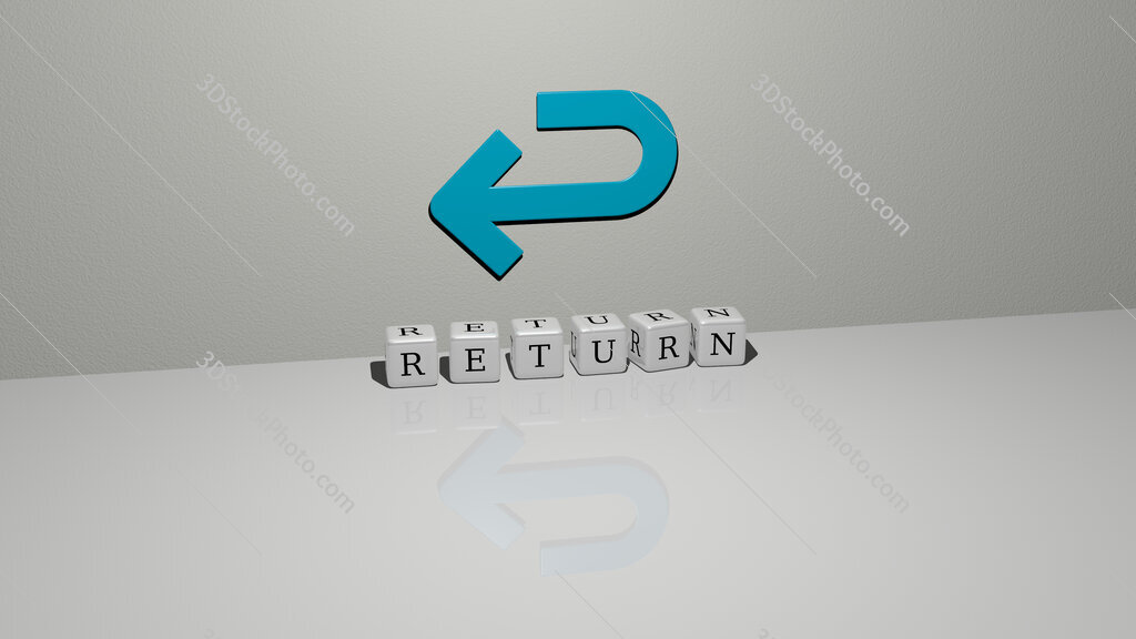 return text of cubic dice letters on the floor and 3D icon on the wall