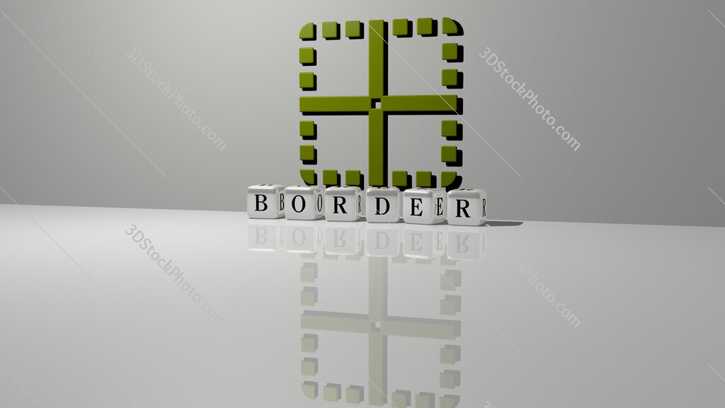 border text of cubic dice letters on the floor and 3D icon on the wall