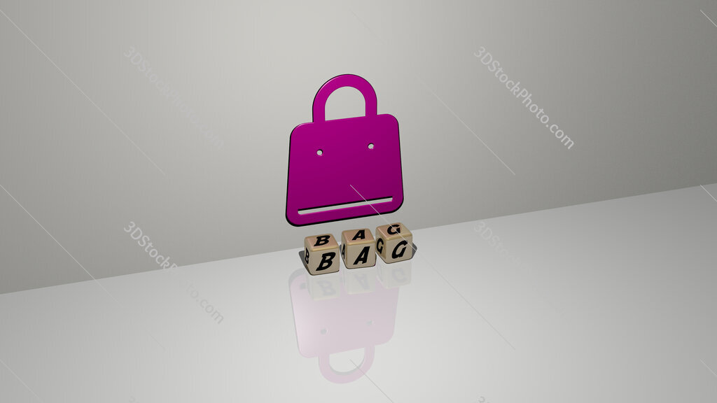 bag text of cubic dice letters on the floor and 3D icon on the wall