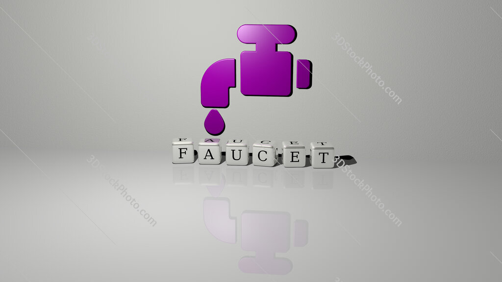 faucet text of cubic dice letters on the floor and 3D icon on the wall