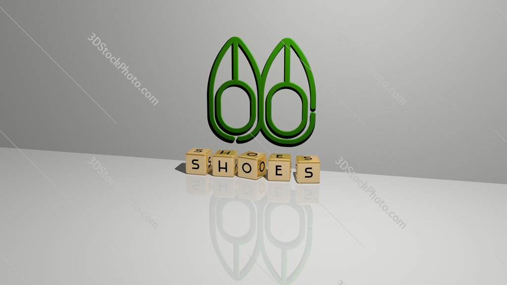 shoes text of cubic dice letters on the floor and 3D icon on the wall