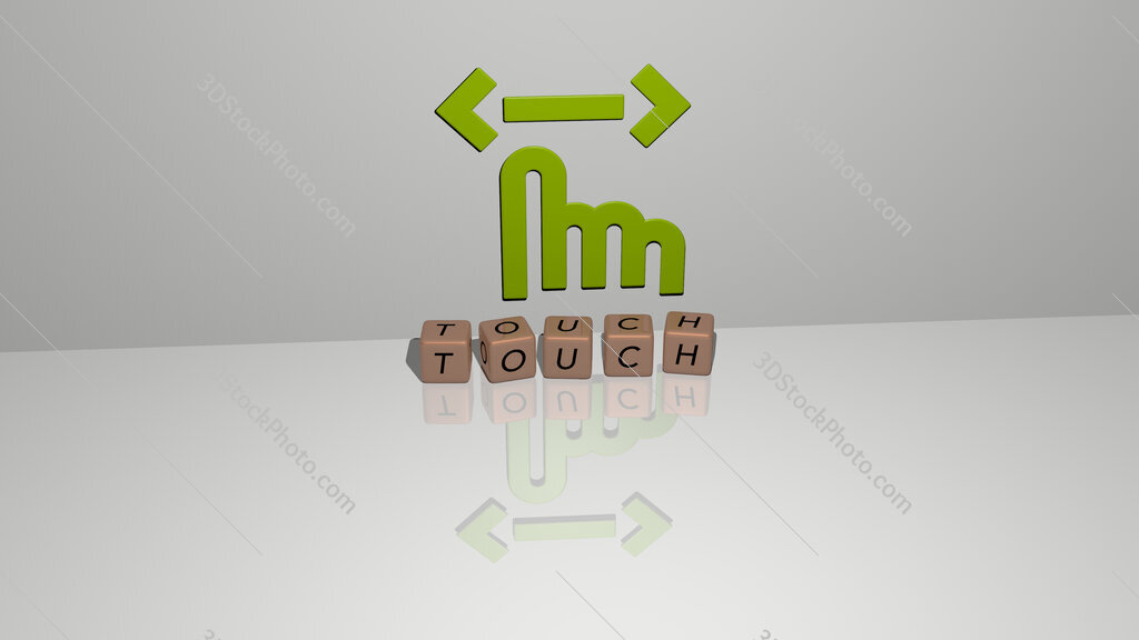 touch text of cubic dice letters on the floor and 3D icon on the wall