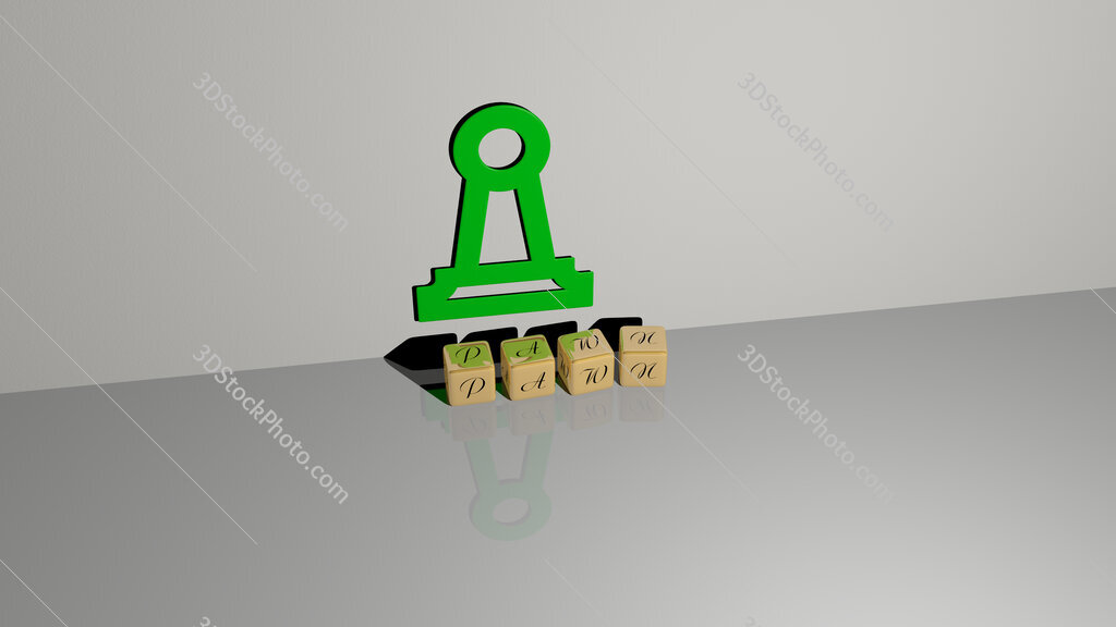 pawn text of cubic dice letters on the floor and 3D icon on the wall
