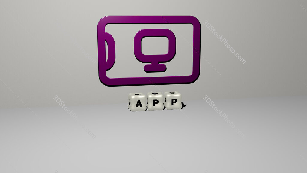 app 3D icon on the wall and cubic letters on the floor
