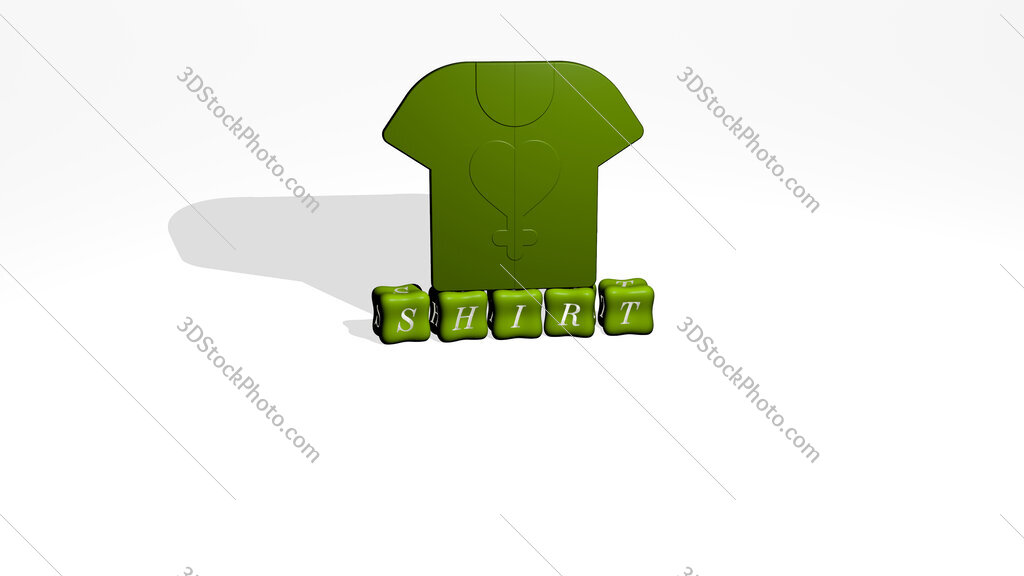 shirt 3D icon object on text of cubic letters