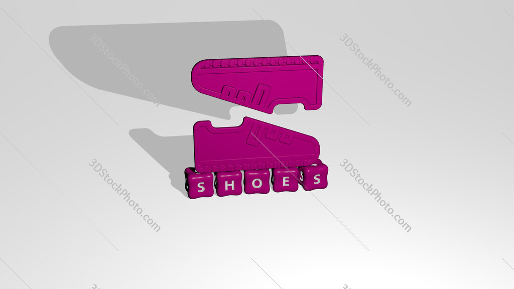 shoes 3D icon object on text of cubic letters