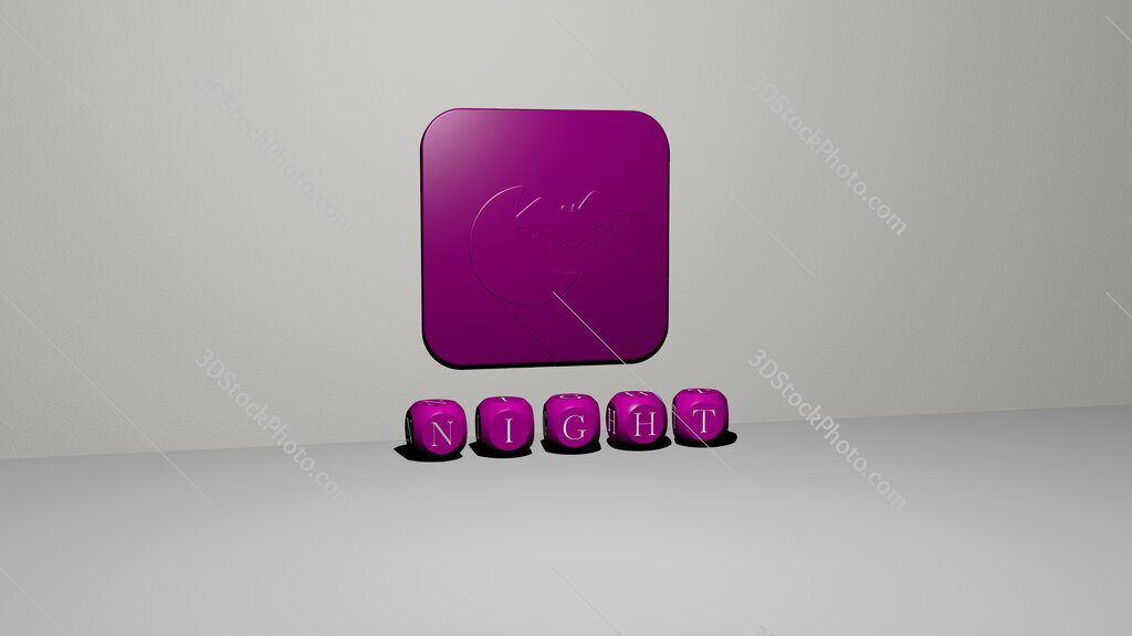 night 3D icon on the wall and text of cubic alphabets on the floor