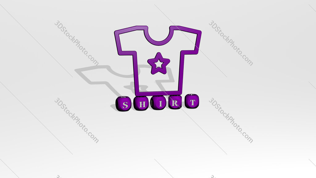 shirt 3D icon over cubic letters