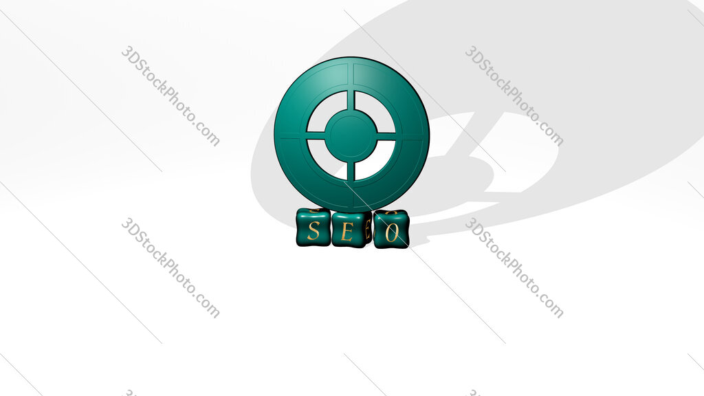 seo 3D icon object on text of cubic letters