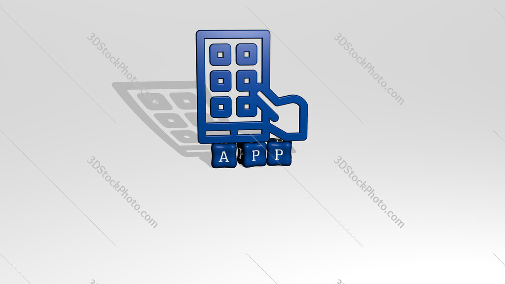 app 3D icon object on text of cubic letters