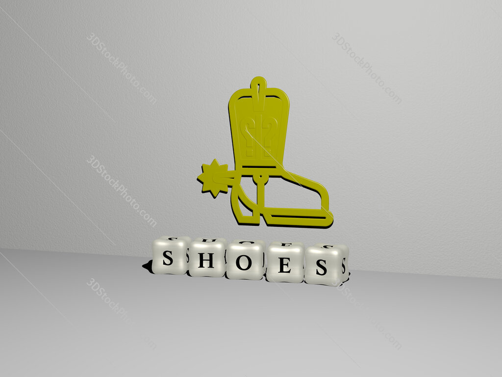 shoes 3D icon on the wall and cubic letters on the floor