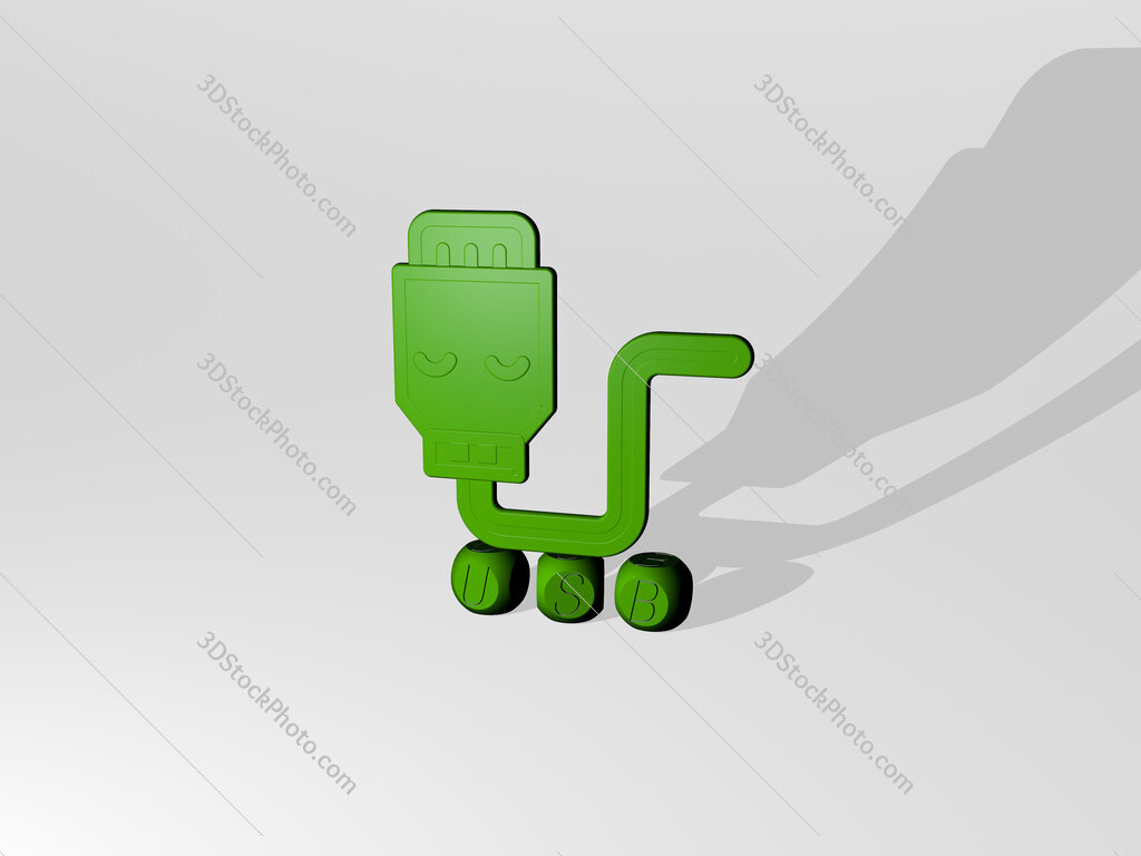 usb 3D icon over cubic letters