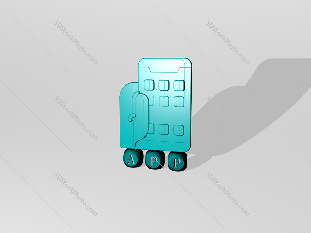 app 3D icon over cubic letters