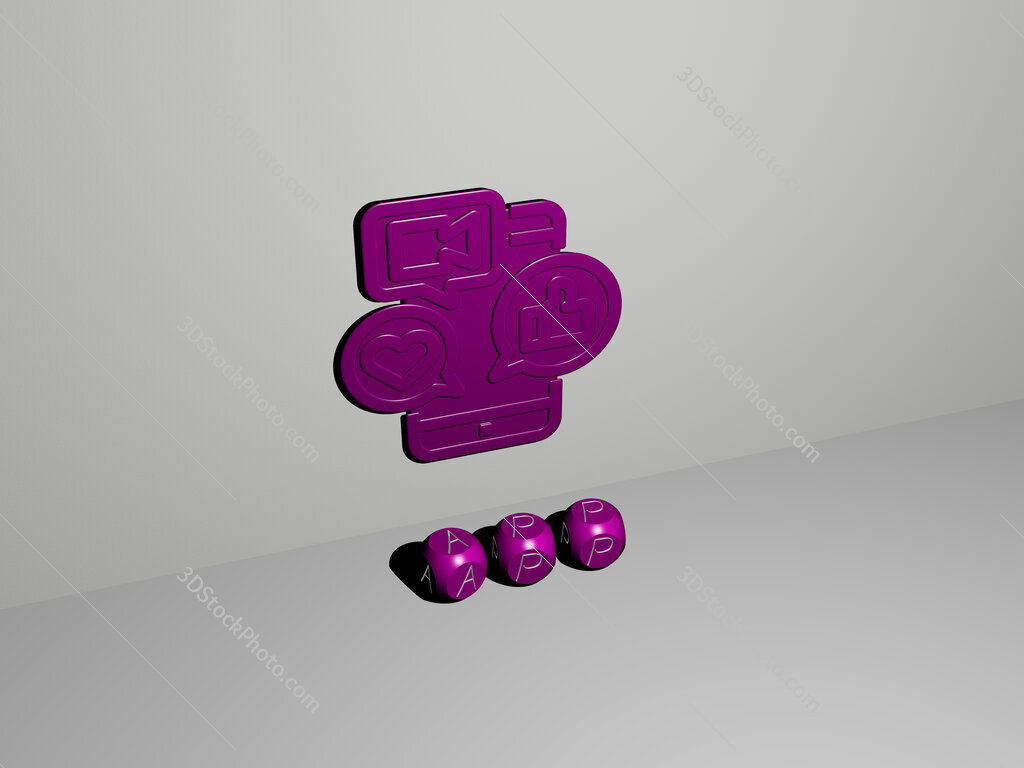 app 3D icon on the wall and text of cubic alphabets on the floor
