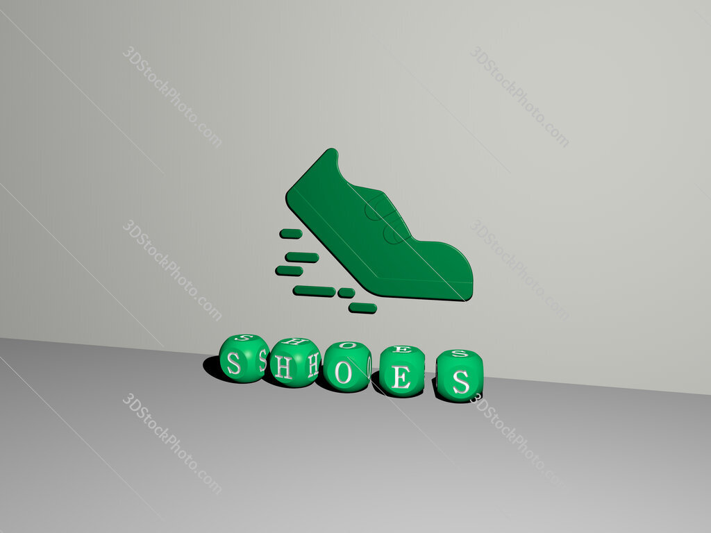 shoes 3D icon on the wall and text of cubic alphabets on the floor