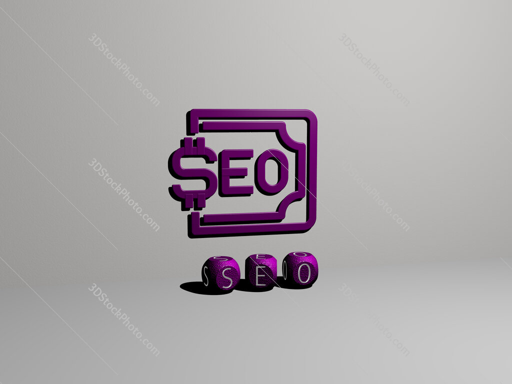 seo 3D icon on the wall and text of cubic alphabets on the floor