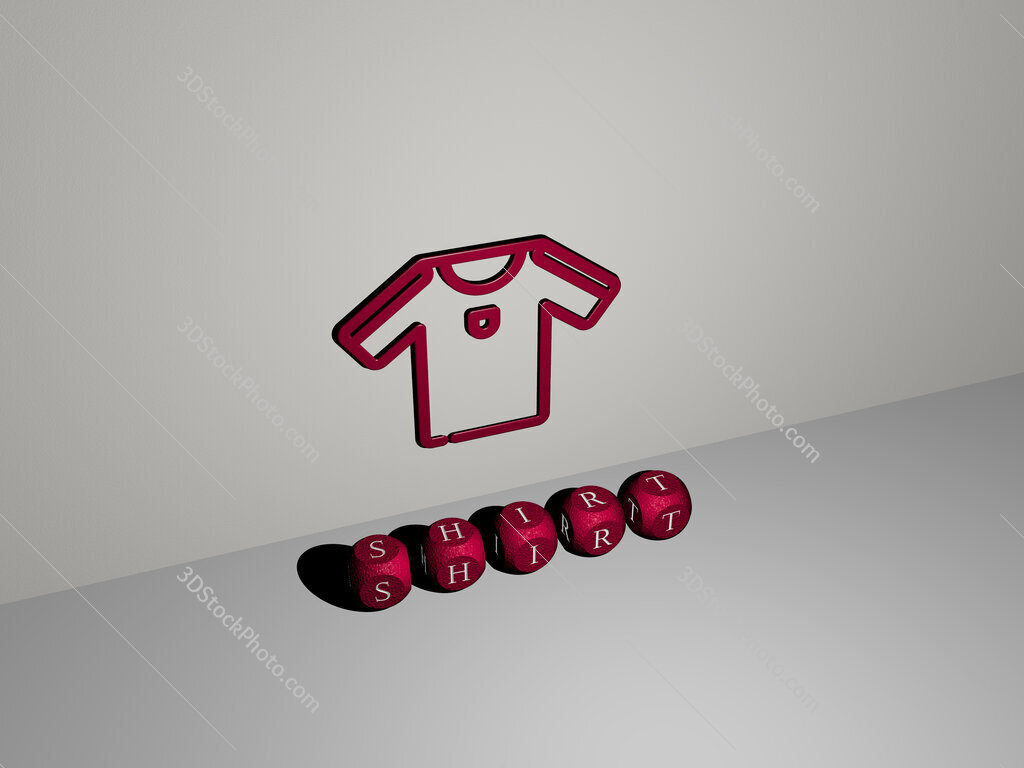 shirt 3D icon on the wall and text of cubic alphabets on the floor