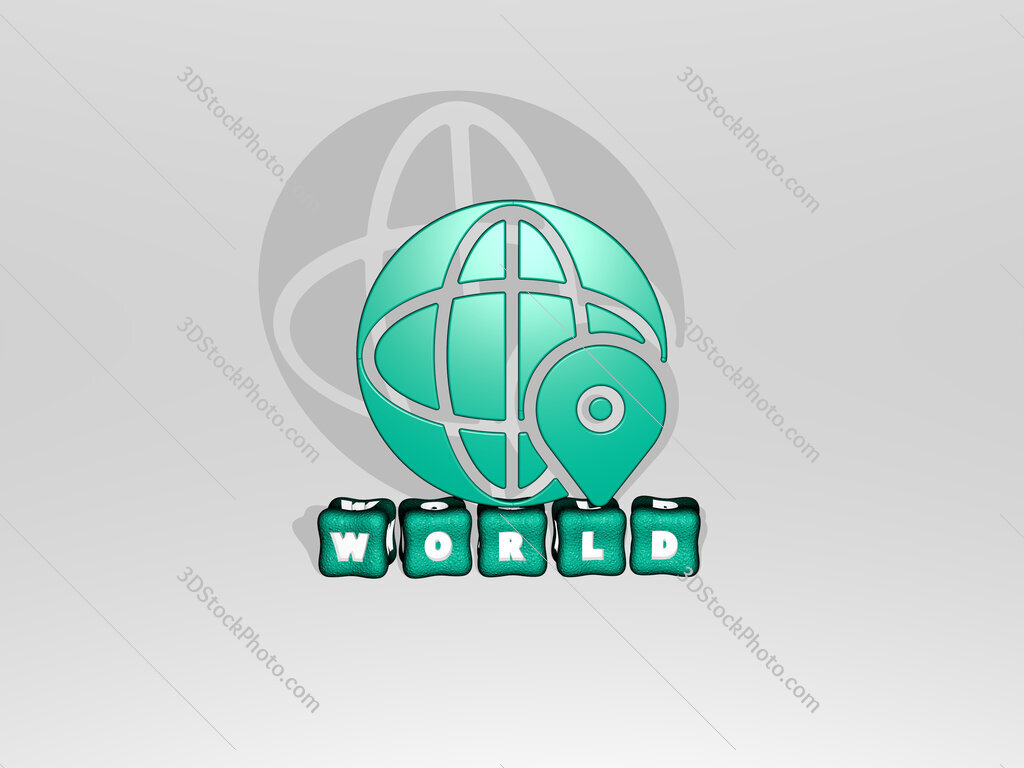 world 3D icon on cubic text