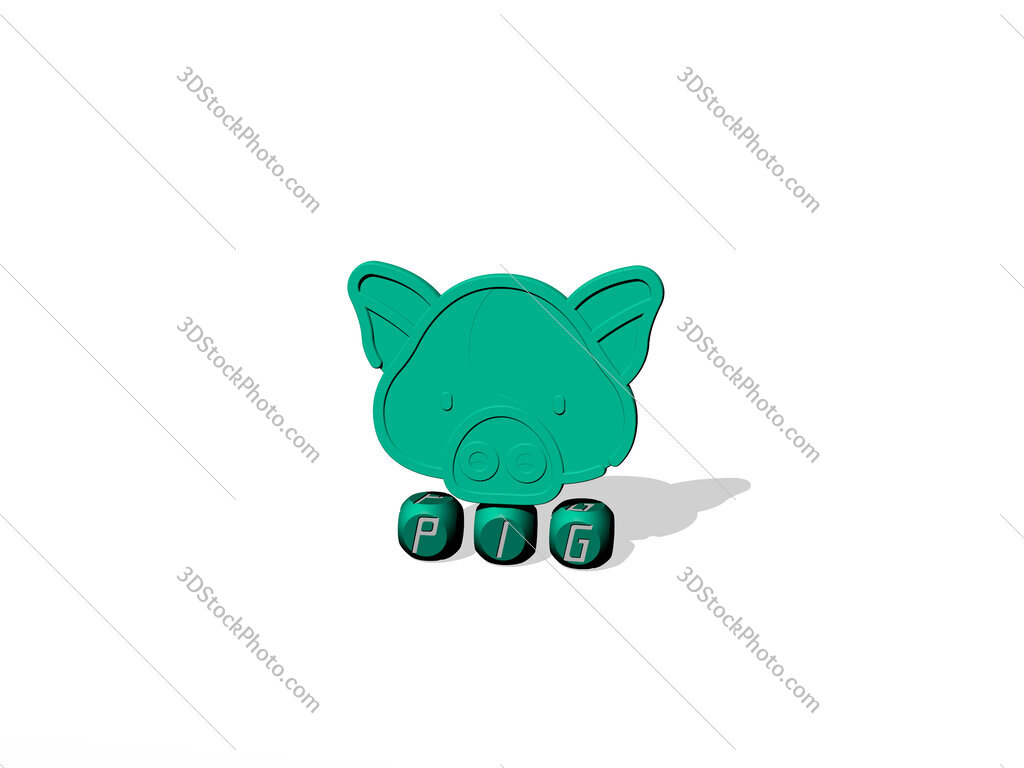 pig cubic letters with 3D icon on the top