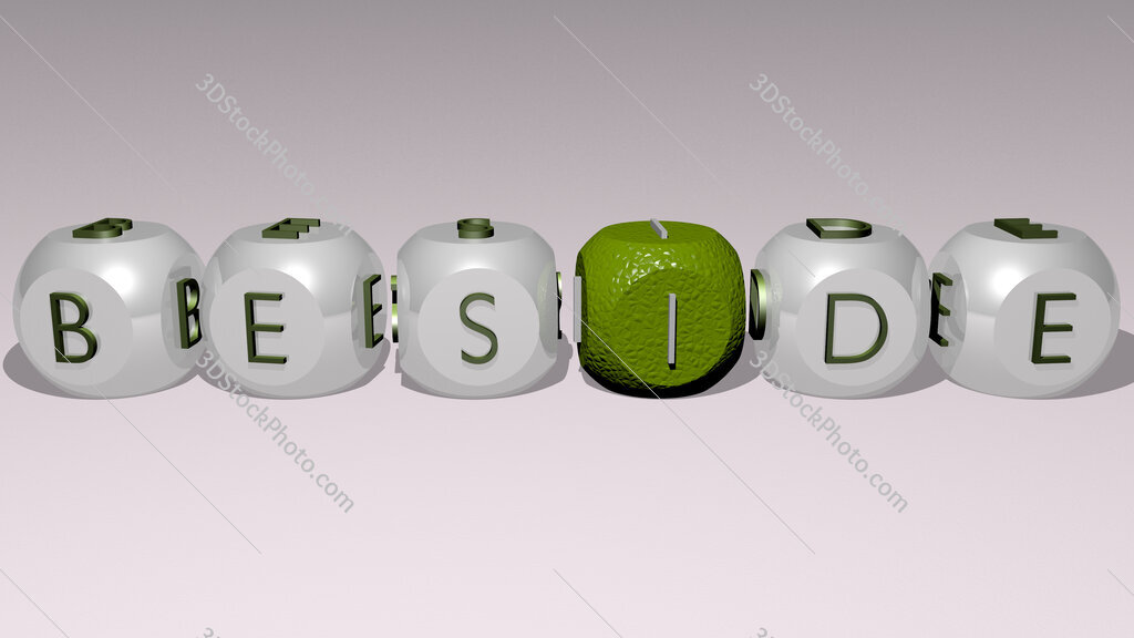 beside text by cubic dice letters