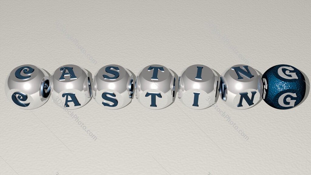 casting text by cubic dice letters