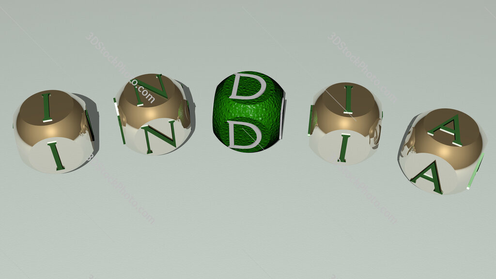 india curved text of cubic dice letters