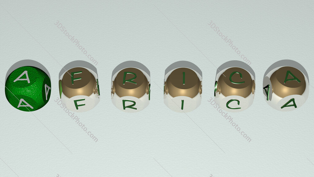 africa text by cubic dice letters