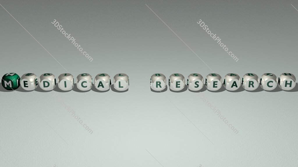 Medical research text by cubic dice letters
