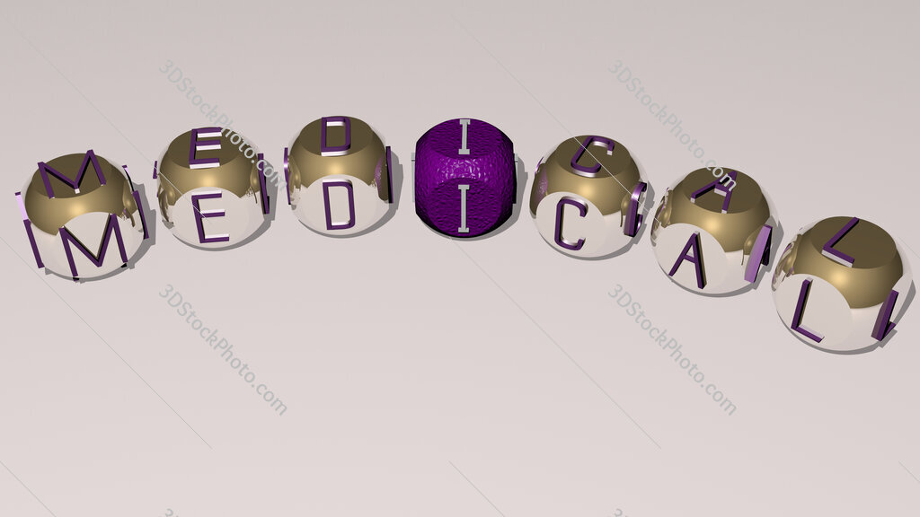 medical curved text of cubic dice letters