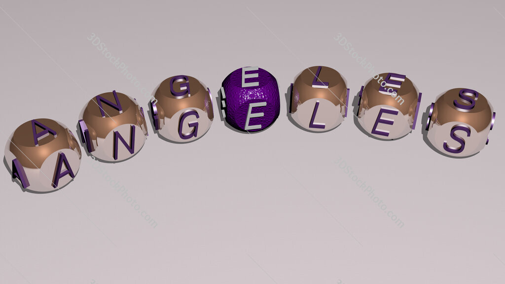angeles curved text of cubic dice letters