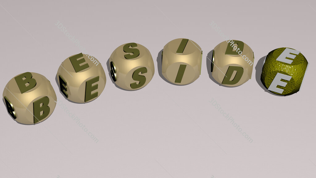 beside curved text of cubic dice letters
