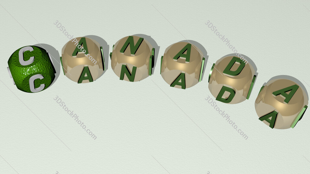 canada curved text of cubic dice letters