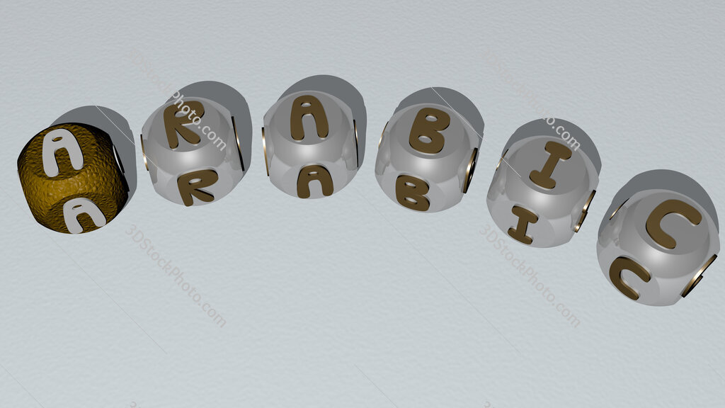arabic curved text of cubic dice letters